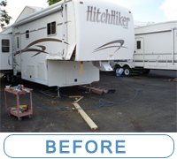 View how dry rot was fixed on fifth wheel RV - saving parts to reuse... McQueeney Collision, Inc.