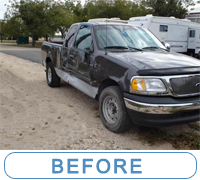 Passenger truck with custom painted doors was in accident.. see how McQueeney Collision Inc. fixed the truck back to a factory look and added a custom image on the doors